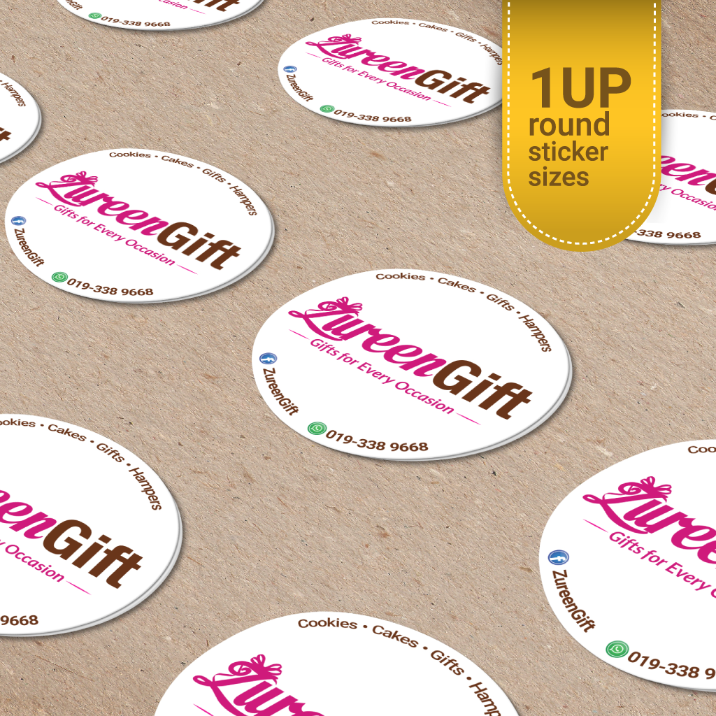 Round sticker label offset printing 1u sizes